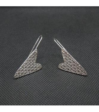 E000778 Genuine Sterling Silver Earrings Filigree Hearts Solid Hallmarked 925