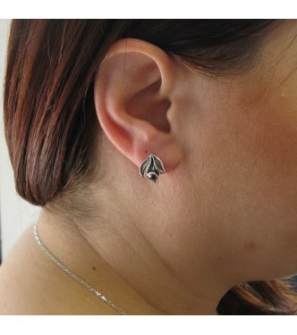 E000782HE Handmade Sterling Silver Floral Earrings With Hematite Solid Hallmarked 925