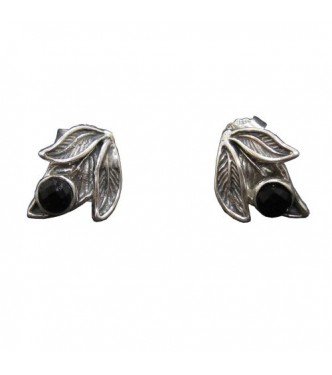 E000782O Handmade Sterling Silver Floral Earrings With Black Onyx Solid Hallmarked 925