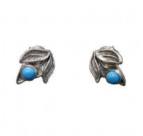 E000782T Handmade Sterling Silver Floral Earrings With Turquoise Solid Hallmarked 925