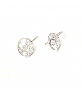 E000787 Sterling Silver Earrings Tree of Life On Hook Solid Hallmarked 925 Handmade