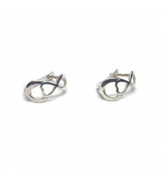 E000823 Genuine Sterling Silver Stylish Earrings Infinity Solid Hallmarked 925 Handmade