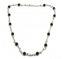 N000278 Sterling silver necklace solid 925 with 6mm black onyx  Empress 40cm