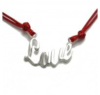 N000279R Sterling silver necklace Love with red string genuine hallmarked 925