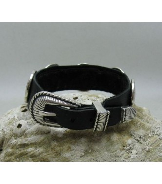 B000130 HANDMADE STERLING SILVER BRACELET SOLID 925 NATURAL LEATHER BISON BUFFALO CHIEF
