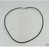 N000006 LEATHER STRIP 2MM ROUND  STERLING SILVER CLASPS 40CM