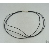 N000007 LEATHER STRIP TRIPLE WITH  STERLING SILVER CLASPS 40CM