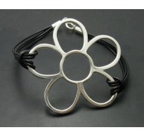 B000124 STERLING SILVER BRACELET FLOWER NATURAL LEATHER 925 NEW