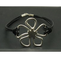 B000123 STERLING SILVER BRACELET FLOWER NATURAL LEATHER 925 NEW