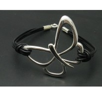 B000121 STERLING SILVER BRACELET HUGE BUTTERFLY NATURAL LEATHER