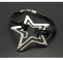 STERLING SILVER BRACELET STAR 925 NATURAL LEATHER  NEW