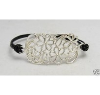 B000112 Sterling Silver Bracelet Solid 925 Flower Natural leather