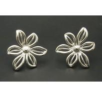 E000149-P Sterling Silver Earrings Solid Flowers Handmade 925