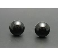 E000146 Sterling Silver Earrings Natural Black Onyx 12mm 925