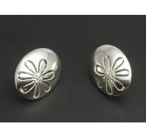 E000147 Sterling Silver Earrings Solid Flowers 925