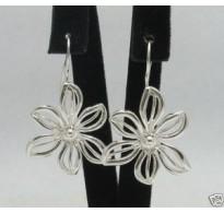 E000149-H Sterling Silver Earrings Solid Flowers Lotus 925