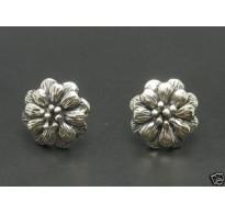 E000144 Sterling Silver Earrings Solid Flowers 925