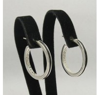 E000110 Stylish Sterling Silver Earrings Natural Leather Hoops 925