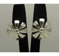 E000157 Sterling Silver Earrings Solid Flower 925
