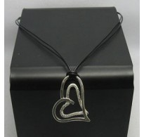 STERLING SILVER NECKLACE HEART NATURAL LEATHER  NEW 925
