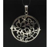 PE000335 Stylish Sterling silver pendant solid 925 huge Flower butterfly