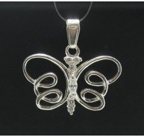 PE000393 Stylish Sterling silver pendant 925 solid butterfly cz quality