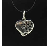 PE000215 Stylish Sterling silver pendant 925 Charm Small Heart solid