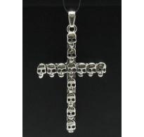 PE000407 Stylish Sterling silver pendant 925 skulls cross biker