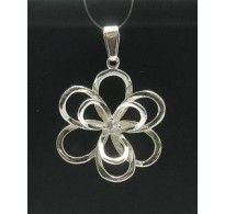 PE000295 Stylish Sterling silver pendant 925 charm flower cz solid