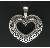 PE000101 STERLING SILVER PENDANT HEART BIG QUALITY 925 NEW