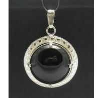 PE000331O Stylish Sterling silver pendant 925 solid Big black onyx 20mm