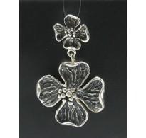 PE000398 Stylish Sterling silver pendant 925 solid huge flower handmade