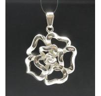 PE000174 Stylish Sterling silver pendant 925 Huge Flower solid