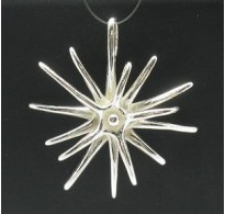 PE000389 STERLING SILVER PENDANT HUGE FLOWER QUALITY 925 NEW