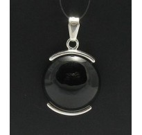 PE000217 Stylish Sterling silver pendant 925 Natural Black Onyx solid