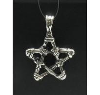 PE000400 Stylish Sterling silver pendant 925 solid pentagram biker