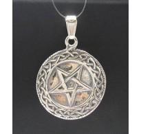 PE000264 Stylish Sterling silver pendant 925 pentagram solid