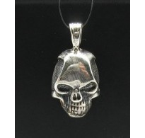 PE000408 Stylish Sterling silver pendant 925 skull gothic biker