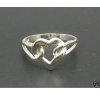 R000094 Genuine Sterling Silver Ring Heart Hallmarked Solid Hallmarked 925 Handmade