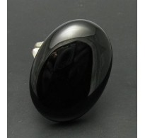 R000312 STERLING SILVER RING HUGE NATURAL BLACK ONYX  925 NEW