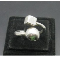 R000096 Sterling Silver Ring Genuine Solid 925 Ball Cube Adjustable New Handmade Empress