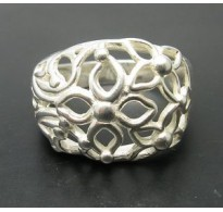 R000304 Stylish Sterling Silver Ring Flowers Genuine Solid 925 Perfect Quality Empress