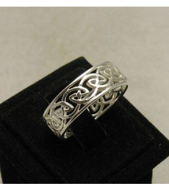 R000465 Stylish STERLING SILVER Ring Solid 925 Celtic Band