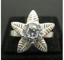 R000228 Stylish Genuine Sterling Silver Ring Solid 925 Flower Cubic Zirconia Handmade