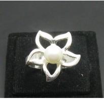 R000389 Genuine Stylish Sterling Silver Ring Hallmarked Solid 925 Flower Pearl Handmade