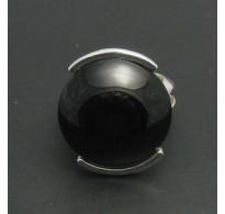 R000388 Sterling Silver Ring With Natural Black Onyx Solid 22mm Handmade Empress