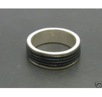 R000091 Genuine Sterling Silver Ring Solid 925 Band With Natural Leather Handmade