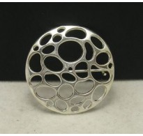 A000009 STYLISH STERLING SILVER BROOCH CIRCLE SOLID 925 NEW