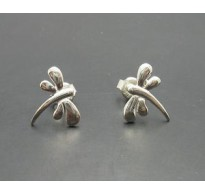 E000154 Sterling Silver Earrings Solid Small Dragonfly 925