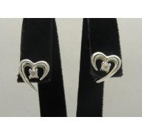 E000167 Sterling Silver Earrings Solid Hearts zirconia 925